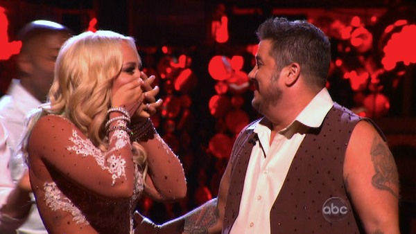 "<div class=""meta image-caption""><div class=""origin-logo origin-image ""><span></span></div><span class=""caption-text"">LGBT activist Chaz Bono and his partner Lacey Schwimmer react to being safe on 'Dancing With The Stars: The Results Show' on Tuesday, October 4, 2011. The pair received 18 out of 30 from the judges for their Rumba on the October 3 episode of 'Dancing With The Stars.' (ABC Photo)</span></div>"