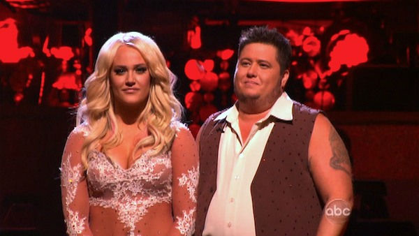 LGBT activist Chaz Bono and his partner Lacey Schwimmer await possible elimination on &#39;Dancing With The Stars: The Results Show&#39; on Tuesday, October 4, 2011. The pair received 18 out of 30 from the judges for their Rumba on the October 3 episode of &#39;Dancing With The Stars.&#39; <span class=meta>(ABC Photo)</span>