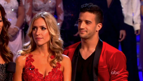 Reality Star Kristin Cavallari and her partner Mark Ballas react to being eliminated on &#39;Dancing With The Stars: The Results Show&#39; on Tuesday, October 4, 2011. The pair received 24 out of 30 from the judges for their Samba on the October 3 episode of &#39;Dancing With The Stars.&#39; <span class=meta>(ABC Photo)</span>