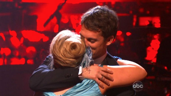 Television host Nancy Grace and her partner Tristan Macmanus react to being safe from elimination on &#39;Dancing With The Stars: The Results Show&#39; on Tuesday, October 4, 2011. The pair received 21 out of 30 from the judges for their Waltz on the October 3 episode of &#39;Dancing With The Stars.&#39; <span class=meta>(ABC Photo)</span>