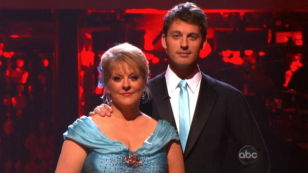 Nancy Grace and her partner Tristan Macmanus await possible elimination on 'Dancing With The Stars: The Result Show' on Tuesday, October 4, 2011. The pair received 21 out of 30 from the judges for their Waltz on the October 3 episode of 'Dancing With The