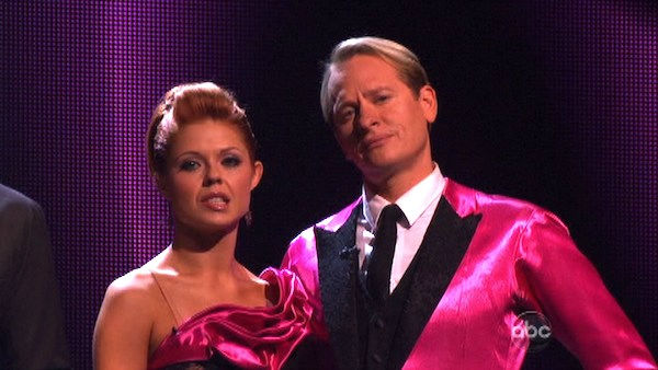 "<div class=""meta image-caption""><div class=""origin-logo origin-image ""><span></span></div><span class=""caption-text"">Television personality Carson Kressley and his partner Anna Trebunskaya await possible elimination on 'Dancing With The Stars: The Results Show' on Tuesday, October 4, 2011. The pair received 23 out of 30 from the judges for their Tango on the October 3 episode of 'Dancing With The Stars.' (ABC Photo)</span></div>"