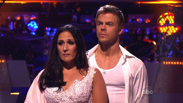 Talk show host and actress Ricki Lake and her partner Derek Hough await possible elimination on &#39;Dancing With The Stars: The Results Show&#39; on Tuesday, October 4, 2011. The pair received 27 out of 30 from the judges for their Rumba on the October 3 episode of &#39;Dancing With The Stars.&#39; <span class=meta>(ABC Photo)</span>