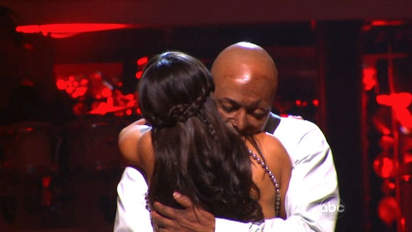 &#39;All My Children&#39; actor and Iraq War veteran J.R. Martinez and his partner Karina Smirnoff react to being safe on &#39;Dancing With The Stars: The Results Show&#39; on Tuesday, October 4, 2011. The pair received 26 out of 30 from the judges for their Rumba on the October 3 episode &#39;Dancing With The Stars.&#39; <span class=meta>(ABC Photo)</span>