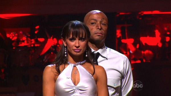 'All My Children' actor and Iraq War veteran J.R. Martinez and his partner Karina Smirnoff await possible elimination on 'Dancing With The Stars: The Results Show' on Tuesday, October 4, 2011. The pair received 26 out of 30 from the judges for their Rumba