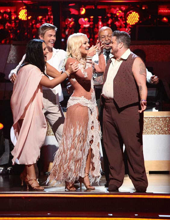 LGBT activist Chaz Bono and his partner Lacey Schwimmer react to being safe on 'Dancing With The Stars: The Results Show' on Tuesday, October 4, 2011. The pair received 18 out of 30 from the judges for their Rumba on the October 3 episode of 'Dancing With