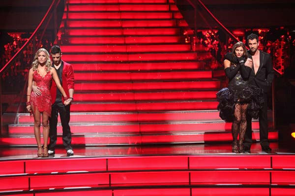 Reality Star Kristin Cavallari and her partner Mark Ballas, U.S. soccer star Hope Solo and her partner Maksim Chmerkovskiy await possible elimination on &#39;Dancing With The Stars: The Result Show&#39; on Tuesday, October 4, 2011. <span class=meta>(ABC Photo&#47; Adam Taylor)</span>