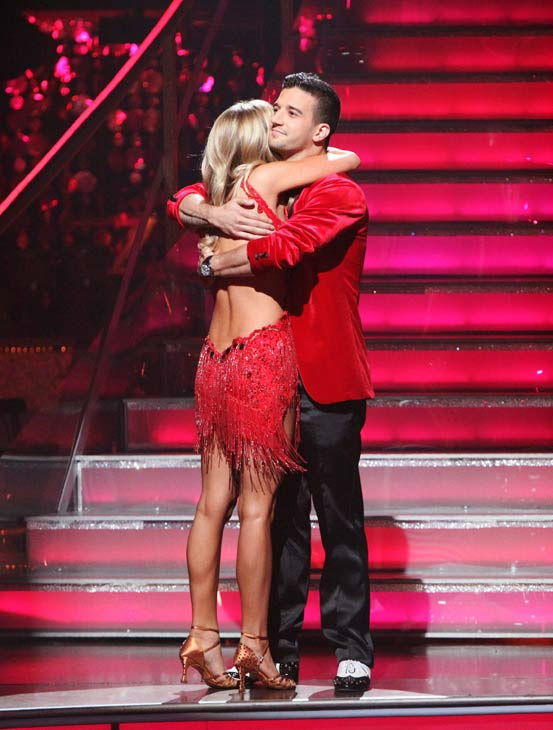 Reality Star Kristin Cavallari and her partner Mark Ballas react to being eliminated on &#39;Dancing With The Stars: The Results Show&#39; on Tuesday, October 4, 2011. The pair received 24 out of 30 from the judges for their Samba on the October 3 episode of &#39;Dancing With The Stars.&#39; <span class=meta>(ABC Photo&#47; Adam Taylor)</span>