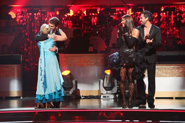 "<div class=""meta ""><span class=""caption-text "">Television host Nancy Grace and her partner Tristan Macmanus react to being safe from elimination on 'Dancing With The Stars: The Results Show' on Tuesday, October 4, 2011. The pair received 21 out of 30 from the judges for their Waltz on the October 3 episode of 'Dancing With The Stars.' (ABC Photo/ Adam Taylor)</span></div>"