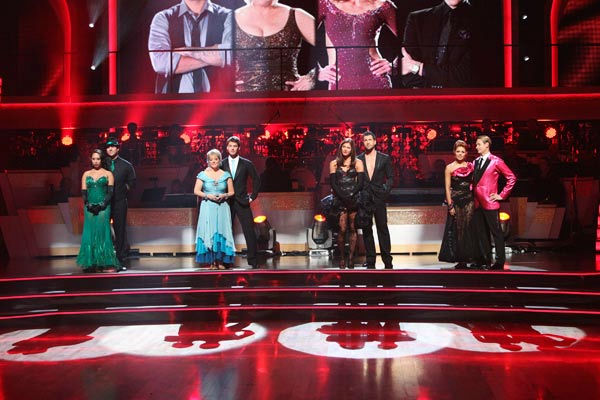 The remaining couples waited to see who would be eliminated, as determined by a combination of the judges&#39; scores and viewers&#39; votes on dances performed on Monday&#39;s performance show, on on &#39;Dancing With The Stars: The Results Show&#39; on Tuesday, October 4, 2011. &#40;Pictured: CHERYL BURKE, ROB KARDASHIAN, NANCY GRACE, TRISTAN MACMANUS, HOPE SOLO, MAKSIM CHMERKOVSKIY, ANNA TREBUNSKAYA, CARSON KRESSLEY&#41; <span class=meta>(ABC Photo&#47; Adam Taylor)</span>