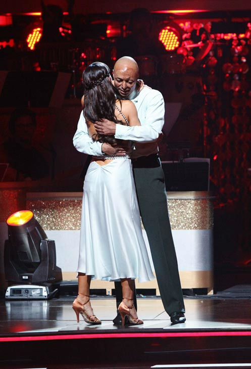 &#39;All My Children&#39; actor and Iraq War veteran J.R. Martinez and his partner Karina Smirnoff react to being safe on &#39;Dancing With The Stars: The Results Show&#39; on Tuesday, October 4, 2011. The pair received 26 out of 30 from the judges for their Rumba on the October 3 episode &#39;Dancing With The Stars.&#39; <span class=meta>(ABC Photo&#47; Adam Taylor)</span>