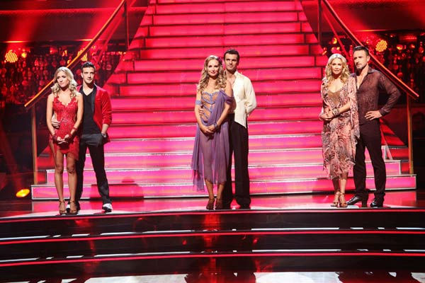 "<div class=""meta ""><span class=""caption-text "">The remaining couples waited to see who would be eliminated, as determined by a combination of the judges' scores and viewers' votes on dances performed on Monday's performance show, on 'Dancing With The Stars: The Results Show' on Tuesday, October 4, 2011. (Pictured: KRISTIN CAVALLARI, MARK BALLAS, CHYNNA PHILLIPS, TONY DOVOLANI, KYM JOHNSON, DAVID ARQUETTE) (ABC Photo/ Adam Taylor)</span></div>"
