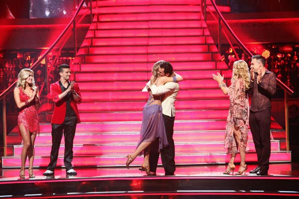 Singer Chynna Phillips and her partner Tony Dovolani react to being safe from elimination on &#39;Dancing With The Stars: The Results Show&#39; on Tuesday, October 4, 2011. The pair received 26 out of 30 from the judges for their Rumba on the October 3 episode &#39;Dancing With The Stars.&#39; <span class=meta>(ABC Photo&#47; Adam Taylor)</span>