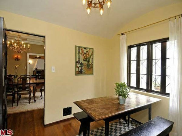 The breakfast nook in Frances Bean Cobain's 3,350 square foot home, which the only child of Courtney Love and the late Kurt Cobain purchased for $1,825,000 in July, 2011. The property, which was built in 1930 by architect Carl Jules Weyl, has 4-bedrooms a