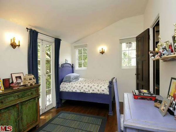 A guest bedroom in Frances Bean Cobain's 3,350 square foot home, which the only child of Courtney Love and the late Kurt Cobain purchased for $1,825,000 in July, 2011. The property, which was built in 1930 by architect Carl Jules Weyl, has 4-bedrooms and