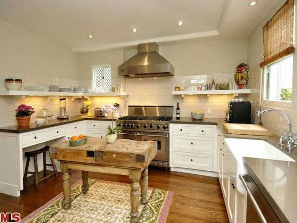 The kitchen in Frances Bean Cobain's 3,350 square foot home, which the only child of Courtney Love and the late Kurt Cobain purchased for $1,825,000 in July, 2011. The property, which was built in 1930 by architect Carl Jules Weyl, has 4-bedrooms and 3.5