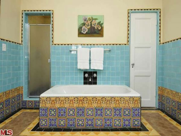 The master bathroom in Frances Bean Cobain's 3,350 square foot home, which the only child of Courtney Love and the late Kurt Cobain purchased for $1,825,000 in July, 2011. The property, which was built in 1930 by architect Carl Jules Weyl, has 4-bedrooms