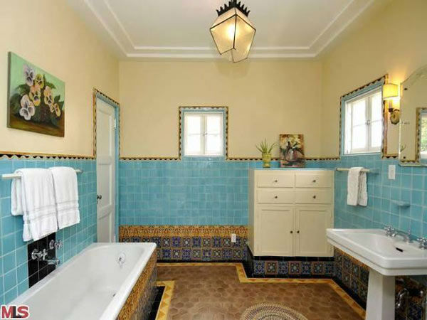 The master bathroom in Frances Bean Cobain&#39;s 3,350 square foot home, which the only child of Courtney Love and the late Kurt Cobain purchased for &#36;1,825,000 in July, 2011. The property, which was built in 1930 by architect Carl Jules Weyl, has 4-bedrooms and 3.5 bathrooms. <span class=meta>(Photo&#47;MLS Listings)</span>