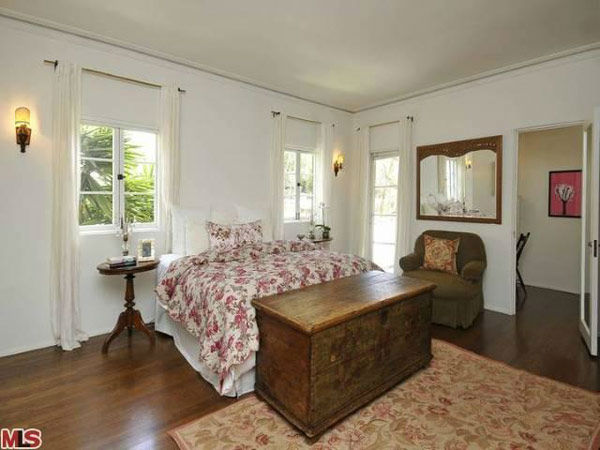 The master bedroom in Frances Bean Cobain's 3,350 square foot home, which the only child of Courtney Love and the late Kurt Cobain purchased for $1,825,000 in July, 2011. The property, which was built in 1930 by architect Carl Jules Weyl, has 4-bedrooms a