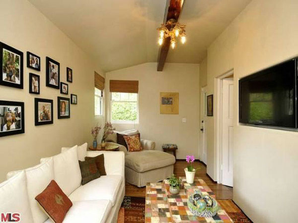 "<div class=""meta ""><span class=""caption-text "">The media room in Frances Bean Cobain's 3,350 square foot home, which the only child of Courtney Love and the late Kurt Cobain purchased for $1,825,000 in July, 2011. The property, which was built in 1930 by architect Carl Jules Weyl, has 4-bedrooms and 3.5 bathrooms. (Photo/MLS Listings)</span></div>"