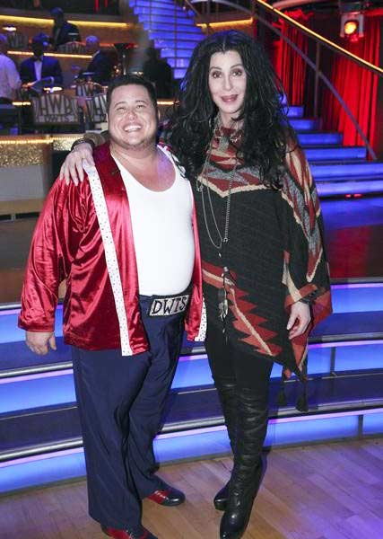 "<div class=""meta image-caption""><div class=""origin-logo origin-image ""><span></span></div><span class=""caption-text"">Cher reacts poses with her son LGBT activist Chaz Bono at round four of 'Dancing With The Stars' on Oct. 10, 2011. (Photo/ABC)</span></div>"