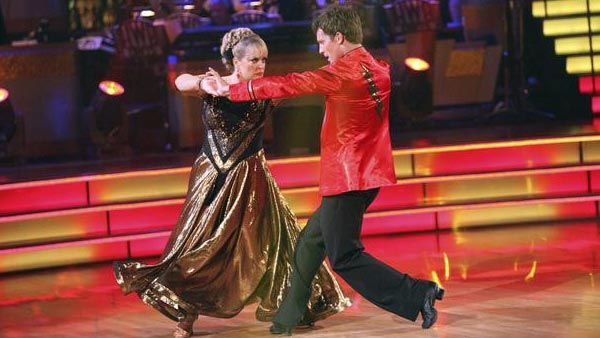 Television host Nancy Grace and her partner Tristan Macmanus received 21 out of 30 from the judges for their Paso Doble on the October 3 episode of 'Dancing With The Stars.'