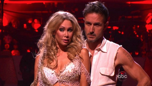 Actor David Arquette and his partner Kym Johnson await possible elimination on 'Dancing With The Stars: The Result Show' on Tuesday, October 11, 2011. The pair received 23 out of 30 from the judges for their Paso Doble on the October 10 episode of 'Dancin