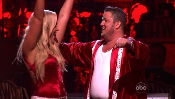 LGBT activist Chaz Bono and his partner Lacey Schwimmer react to being safe on 'Dancing With The Stars: The Results Show' on Tuesday, October 11, 2011. The pair received 21 out of 18 from the judges for their Paso Doble on the October 10 episode of 'Danci