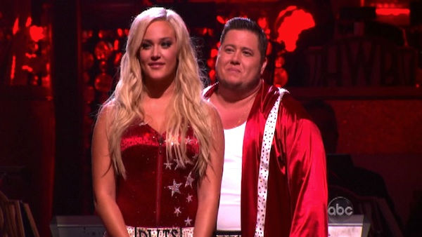 LGBT activist Chaz Bono and his partner Lacey Schwimmer await possible elimination on 'Dancing With The Stars: The Results Show' on Tuesday, October 11, 2011. The pair received 21 out of 18 from the judges for their Paso Doble on the October 10 episode of
