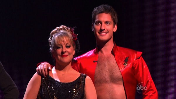 Television host Nancy Grace and her partner Tristan Macmanus await possible elimination on 'Dancing With The Stars: The Result Show' on Tuesday, October 11, 2011. The pair received 21 out of 30 from the judges for their Paso Doble on the October 10 episod