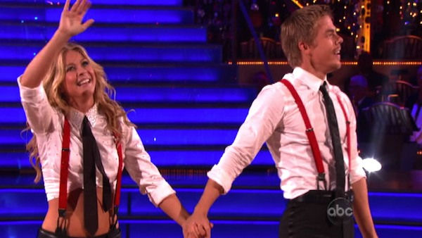 &#39;Dancing With the Stars&#39; two-time champion Julianne Hough hit dance floor with her brother and &#39;Dancing With the Stars&#39; three-time champion Derek Hough on &#39;Dancing With The Stars: The Result Show&#39; on Tuesday, October 11, 2011. <span class=meta>(Photo&#47;ABC Photo)</span>