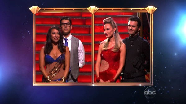 'Keeping Up With The Kardashians' star Rob Kardashian, Cheryl Burke, singer Chynna Phillips and her partner Tony Dovolani await possible elimination on 'Dancing With The Stars: The Result Show' on Tuesday, October 11, 2011.