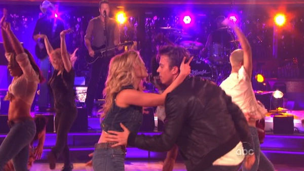 "<div class=""meta ""><span class=""caption-text "">'Dancing with the Stars' two-time champion Julianne Hough and 'Footloose' co-star Kenny Wormald joined Country Music Awards Entertainer of the Year nominee Blake Shelton his performance of the 'Footloose' theme song on 'Dancing With The Stars: The Result Show' on Tuesday, October 11, 2011. (ABC Photo)</span></div>"