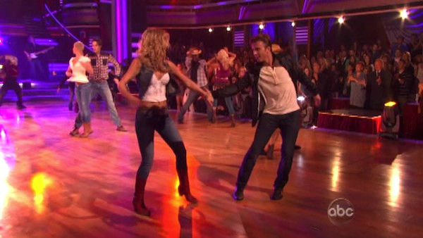 &#39;Dancing with the Stars&#39; two-time champion Julianne Hough and &#39;Footloose&#39; co-star Kenny Wormald joined Country Music Awards Entertainer of the Year nominee Blake Shelton his performance of the &#39;Footloose&#39; theme song on &#39;Dancing With The Stars: The Result Show&#39; on Tuesday, October 11, 2011. <span class=meta>(ABC Photo)</span>