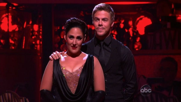 Talk show host and actress Ricki Lake and her partner Derek Hough await possible elimination on 'Dancing With The Stars: The Results Show' on Tuesday, October 11, 2011. The pair received 29 out of 30 from the judges for their Tango on the October 10 episo