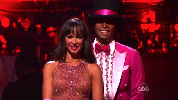 &#39;All My Children&#39; actor and Iraq War veteran J.R. Martinez and his partner Karina Smirnoff await possible elimination on &#39;Dancing With The Stars: The Results Show&#39; on Tuesday, October 11, 2011. The pair received 26 out of 30 from the judges for their Paso Doble on the October 10 episode &#39;Dancing With The Stars.&#39; <span class=meta>(ABC Photo)</span>