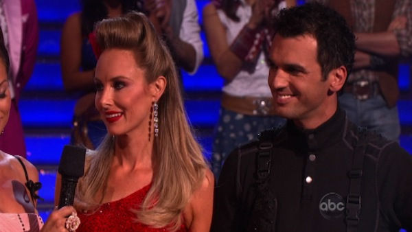 Singer Chynna Phillips and her partner Tony Dovolani react to being eliminated on &#39;Dancing With The Stars: The Result Show&#39; on Tuesday, October 11, 2011. The pair received 21 out of 30 from the judges for their Tango on the October 10 episode &#39;Dancing With The Stars.&#39; <span class=meta>(ABC Photo)</span>