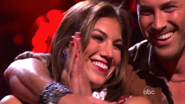U.S. soccer star Hope Solo and her partner Maksim Chmerkovskiy await possible elimination on 'Dancing With The Stars: The Result Show' on Tuesday, October 11, 2011. The pair received 24 out of 30 from the judges for their Fox Trot on the October 10 episod