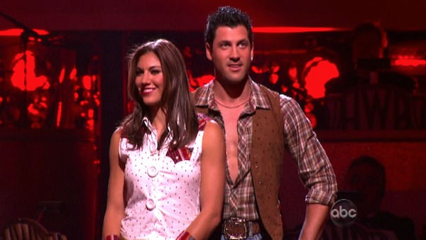 U.S. soccer star Hope Solo and her partner Maksim Chmerkovskiy react to being safe from elimination on &#39;Dancing With The Stars: The Result Show&#39; on Tuesday, October 11, 2011. The pair received 24 out of 30 from the judges for their Fox Trot on the October 10 episode of &#39;Dancing With The Stars.&#39; <span class=meta>(ABC Photo)</span>