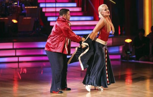 "<div class=""meta ""><span class=""caption-text "">LGBT activist Chaz Bono and his partner Lacey Schwimmer received 21 out of 18 from the judges for their Paso Doble on the October 3 episode of 'Dancing With The Stars.' (Photo/ABC)</span></div>"