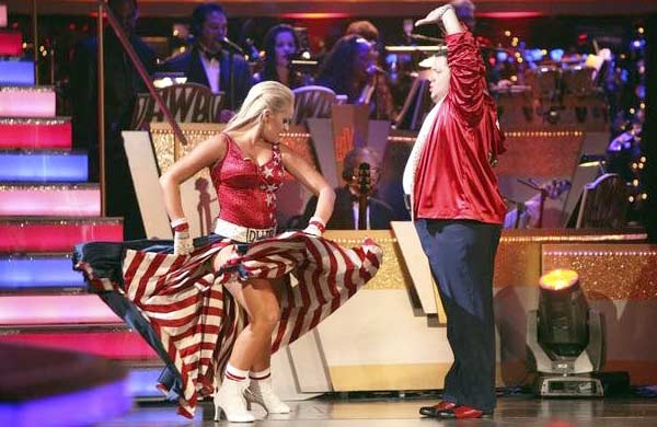 "<div class=""meta image-caption""><div class=""origin-logo origin-image ""><span></span></div><span class=""caption-text"">LGBT activist Chaz Bono and his partner Lacey Schwimmer received 21 out of 18 from the judges for their Paso Doble on the October 3 episode of 'Dancing With The Stars.' (Photo/ABC)</span></div>"