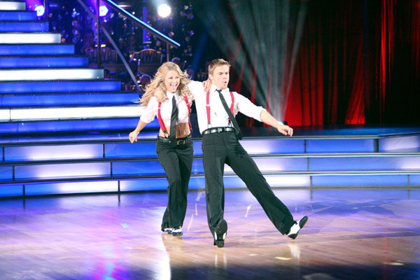 'Dancing With the Stars' two-time champion Julianne Hough hit dance floor with her brother and 'Dancing With the Stars' three-time champion Derek Hough on 'Dancing With The Stars: The Result Show' on Tuesday, October 11, 2011.