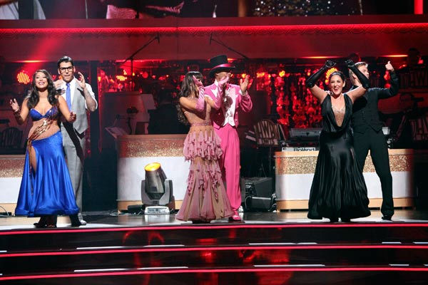 Talk show host and actress Ricki Lake and her partner Derek Hough react to being safe on 'Dancing With The Stars: The Results Show' on Tuesday, October 11, 2011. The pair received 29 out of 30 from the judges for their Tango on the October 10 episode of '