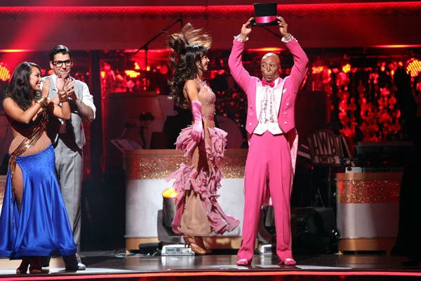 'All My Children' actor and Iraq War veteran J.R. Martinez and his partner Karina Smirnoff react to being safe on 'Dancing With The Stars: The Result Show' on Tuesday, October 11, 2011. The pair received 26 out of 30 from the judges for their Paso Doble o