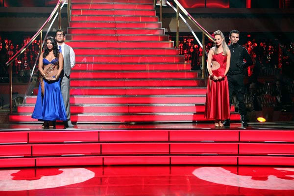 Rob Kardashian and his partner Cheryl Burke and Chynna Phillips and her partner Tony Dovolani wait to see who would be eliminated this week, as determined by a combination of the judges' scores and viewers' votes on dances performed on Monday's performanc