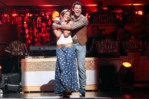 U.S. soccer star Hope Solo and her partner Maksim Chmerkovskiy react to being safe from elimination on 'Dancing With The Stars: The Result Show' on Tuesday, October 11, 2011. The pair received 24 out of 30 from the judges for their Fox Trot on the October