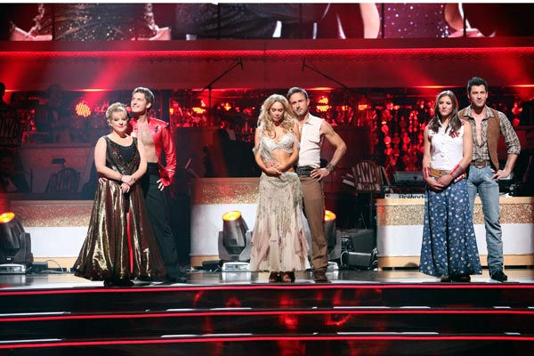 "<div class=""meta ""><span class=""caption-text "">The remaining couples waited to see who would be eliminated this week, as determined by a combination of the judges' scores and viewers' votes on dances performed on Monday's performance show, on 'Dancing With The Stars: The Result Show' on Tuesday, October 11, 2011. (ABC Photo/ Adam Taylor)</span></div>"