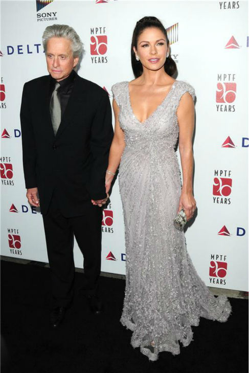 Michael Douglas and Catherine Zeta-Jones attend the A Fine Romance All Star Tribute to Hollywood and Broadway event to benefit the Motion Picture And Television Fund in C