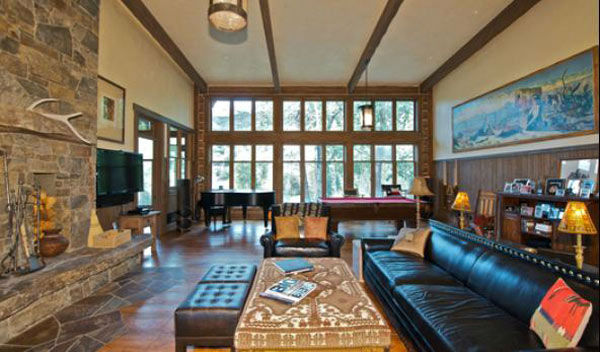 A living room in the main house on Dennis Quaid&#39;s &#36;14 million ranch property, which the actor bought 25-years ago from director Sam Peckinpah and actor Warren Oates. The 5315 square foot home, which Quaid built in 2000 with architect Frank Cikan, has 3 bedrooms, 3 1&#47;2 bathrooms and features wide-plank hardwood floors salvaged from the Great Chicago Fire of 1871. There are also four guest houses, a ranch manager&#39;s home, a creek, horse facilities and an observatory. <span class=meta>(Photo&#47;Sothebysrealty.com)</span>
