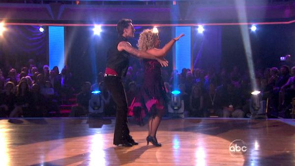 Television host Nancy Grace and her partner Tristan Macmanus received 22 out of 30 from the judges for their Rumba on